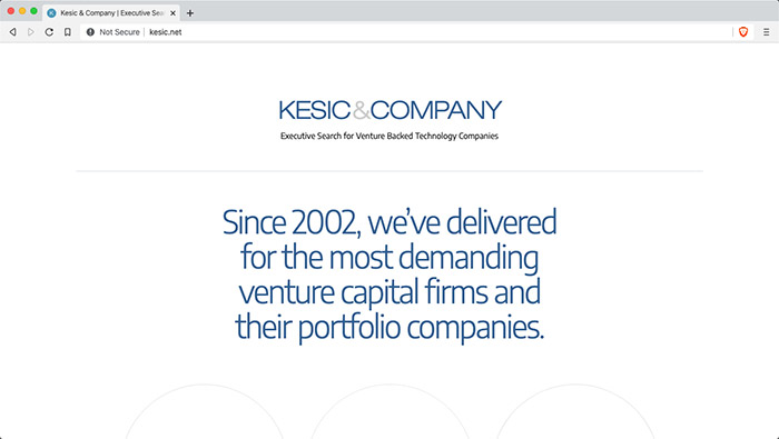 Website for Kesic Executive Search